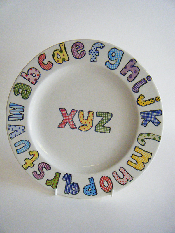 Splash of Colour patchwork letters plate