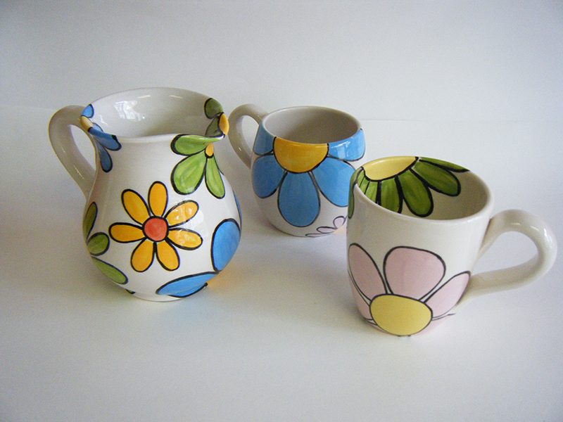 Splash of Colour bold flowers on a mug and jug