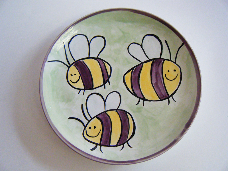 Splash of Colour bumble bee plate