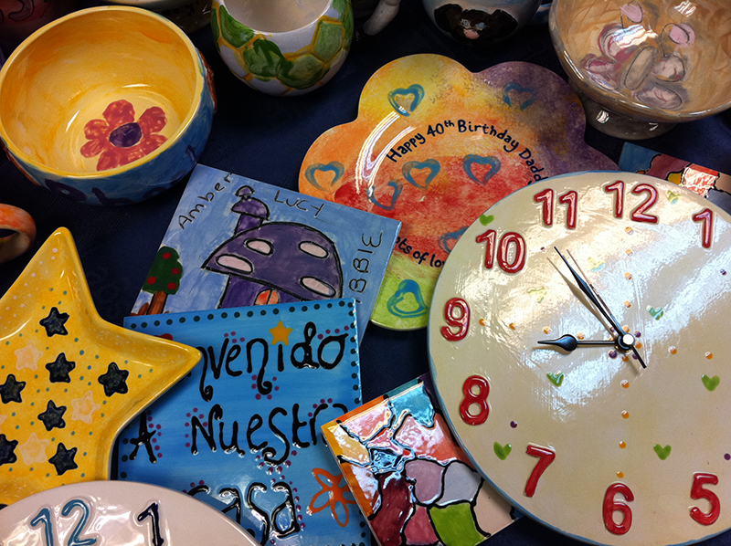 Splash of Colour clock face and pots