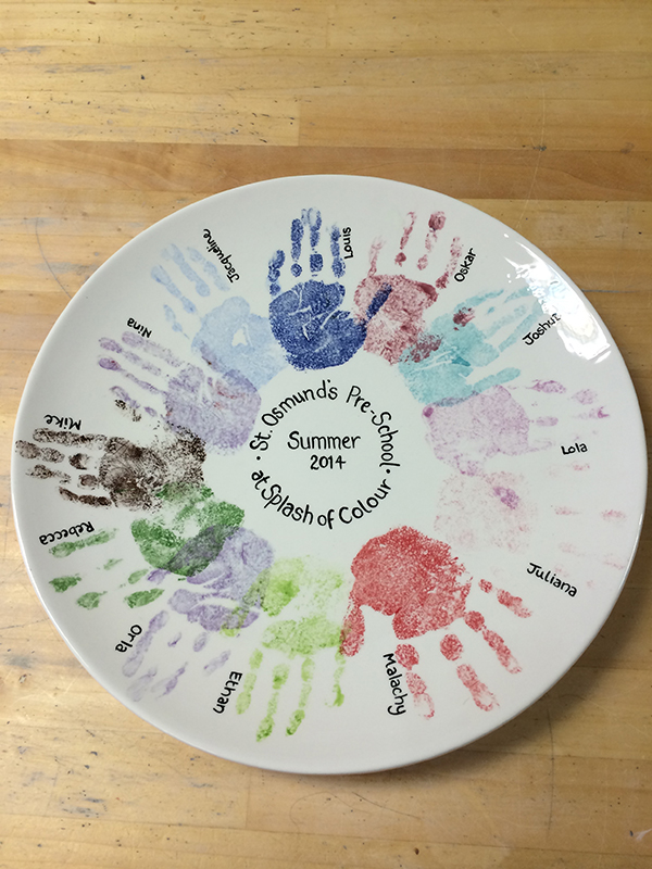 Splash of Colour primary school workshops handprinted plate