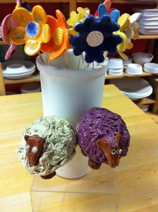 Splash of Colour workshop painted woolly sheep and flowers