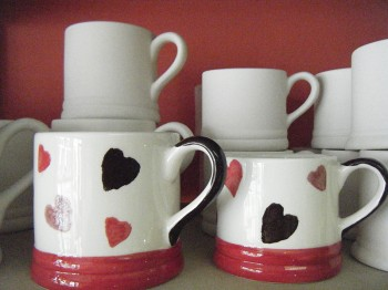 Splash of Colour heart mugs
